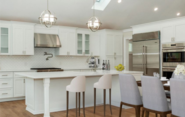 <Kitchen by Frankie Large White Kitchen with stainless Steel Appliances>
